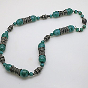 Vintage Sterling Silver Art Nouveau Green Italian Glass Necklace