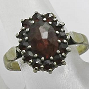 Antique Victorian Rose Cut Bohemian Garnet Ring Sterling Silver Gold Wash 7 and 1/4