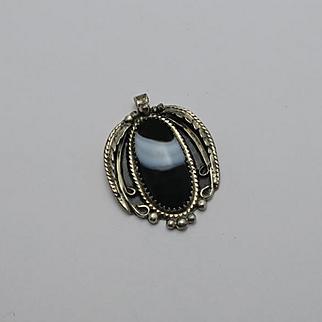 Vintage Native American Indian Sterling Silver Sardonyx Pendant