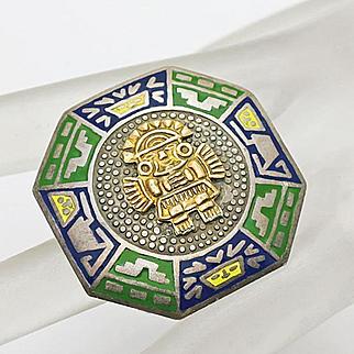Vintage Peruvian Sterling Silver 18K Gold Incan  Enamel  Pin Brooch Pendant Cats!