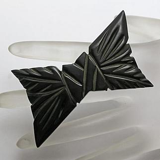 Vintage Black Bakelite Carved Bow Pin Big