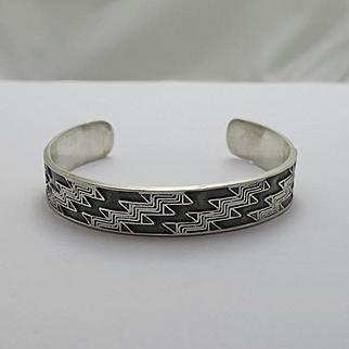 Modernistic Oxidized Sterling Silver Cuff Bracelet