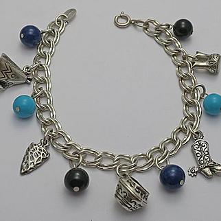 Vintage Sterling Silver  Charm Bracelet  Southwestern Theme