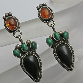 Vintage Sterling Silver Amber Onyx Malachite Drop earrings Long