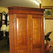 English Oak and Mahogany Hanging Corner Cupboard