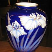 Vintage Japanese Fukagawa Cobalt Blue Vase