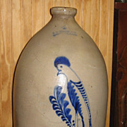 F B Norton Worcester, Mass Blue Decorated Four Gallon Pottery Jug