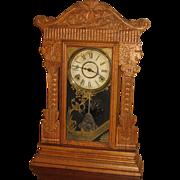Wm. Gilbert Pressed Oak Kitchen Clock