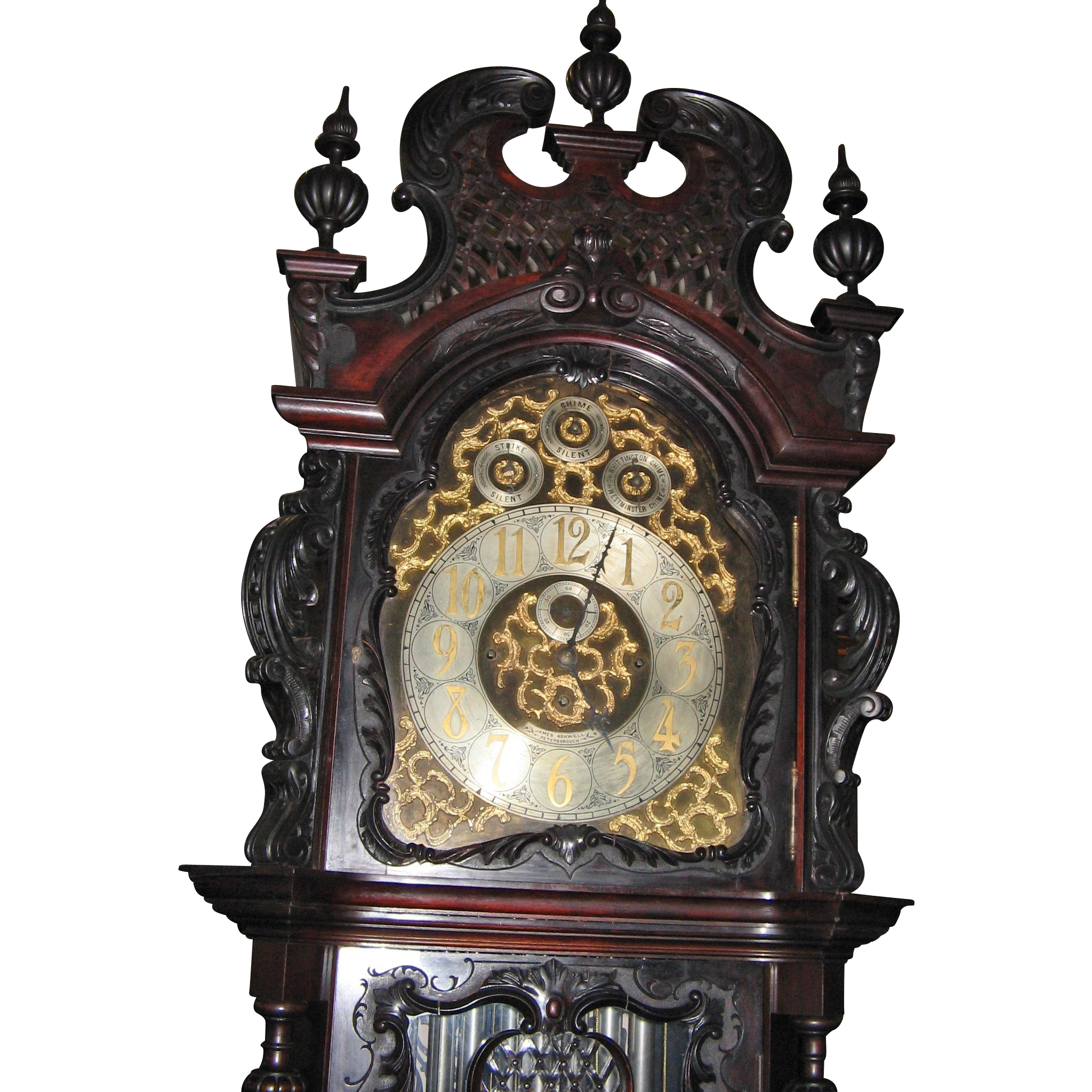 Elliott Nine Tube Carved Mahogany Grandfather Tallcase Clock