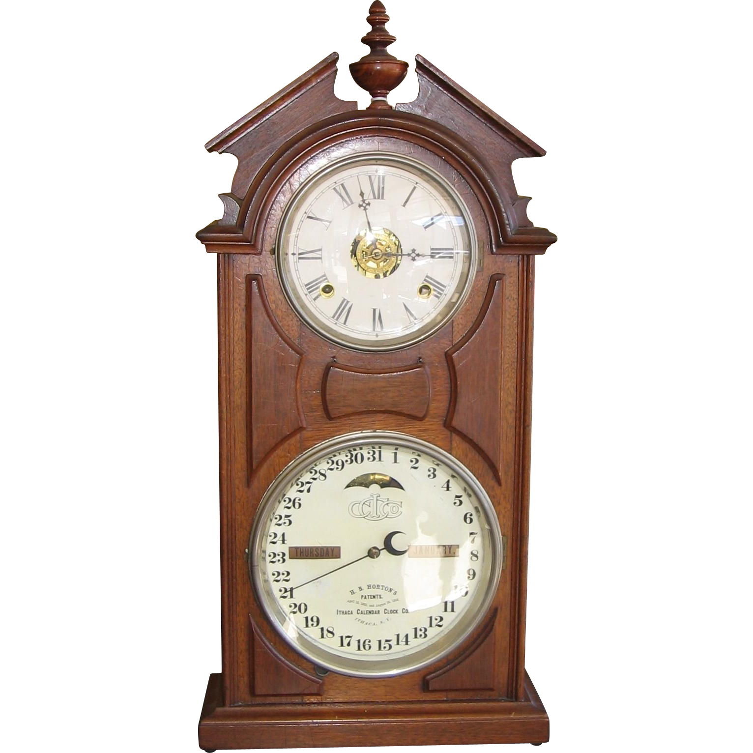 Ithaca Double Dial Calendar Clock #8 Library Model