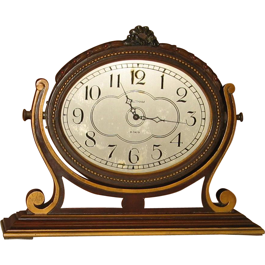 Waltham 8 Day Desk or Dresser Clock  Free Shipping