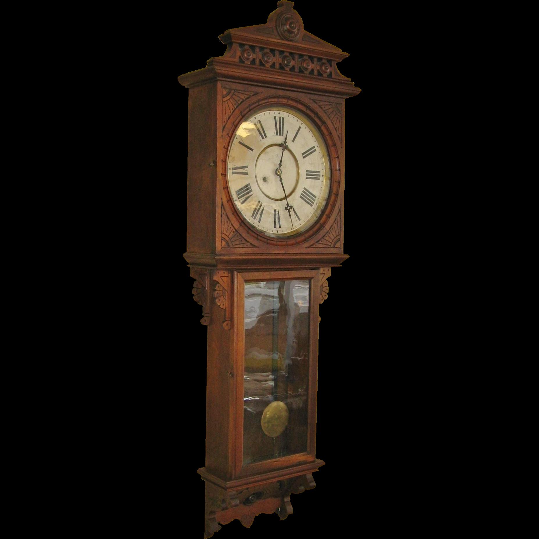 Rare F. Kroeber Regulator #49 Wall Clock Walnut Case