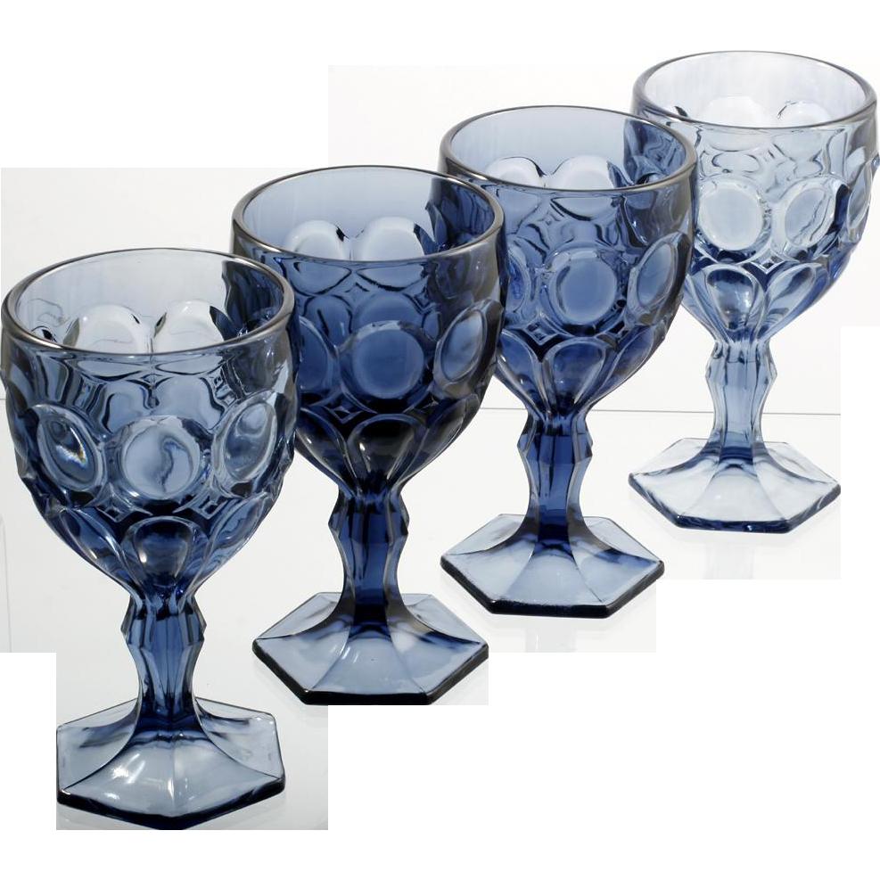 Fostoria Moonstone Wine Glasses Blue Set of Four Vintage Glass 1970s Cobalt