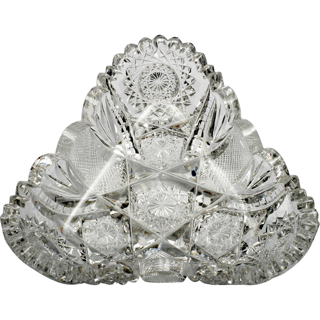 Hoare American Brilliant Cut Glass Olive Dish 8249 Signed Antique Glass 1910s