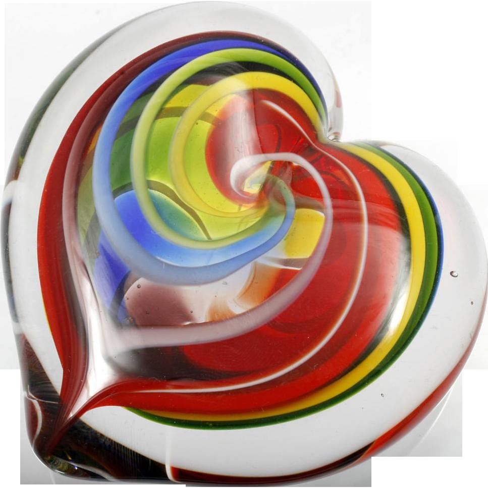 GES Rainbow Heart Paperweight Art Glass Eye Studio Seattle Studio