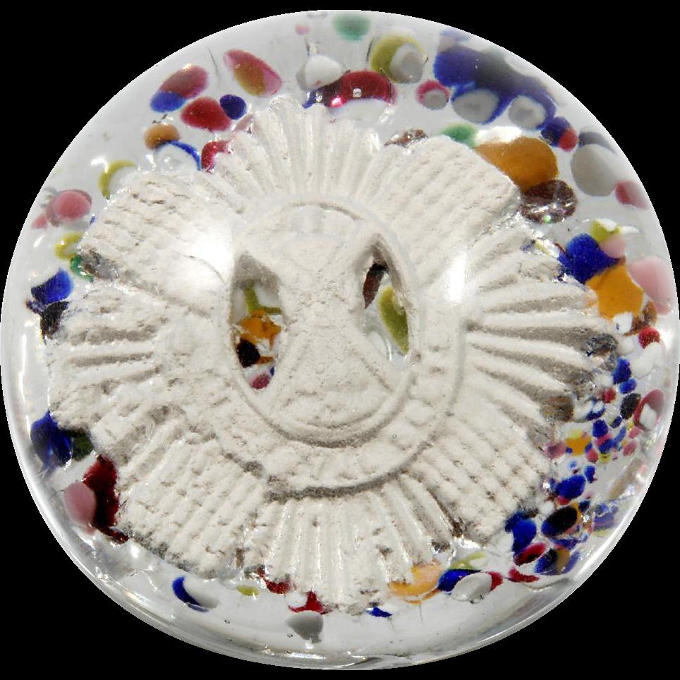 1930s Vintage Art Glass Paperweight Royal Scots Regiment Badge Multicolor Frit
