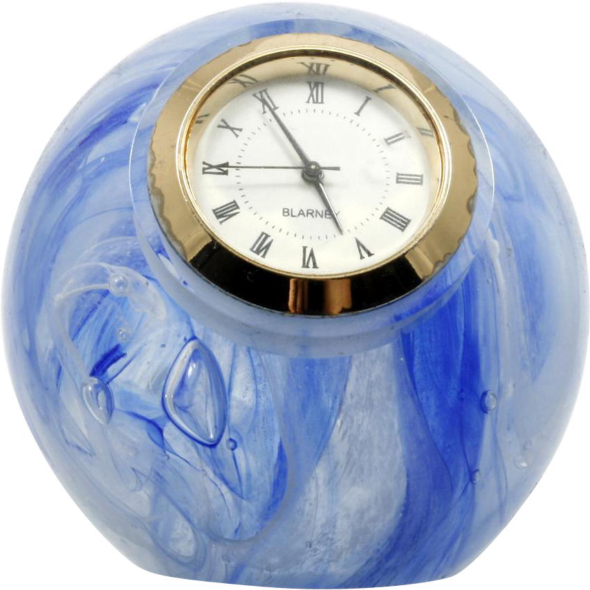Blarney Art Glass Paperweight Clock Irish Crystal Blue and White Vintage