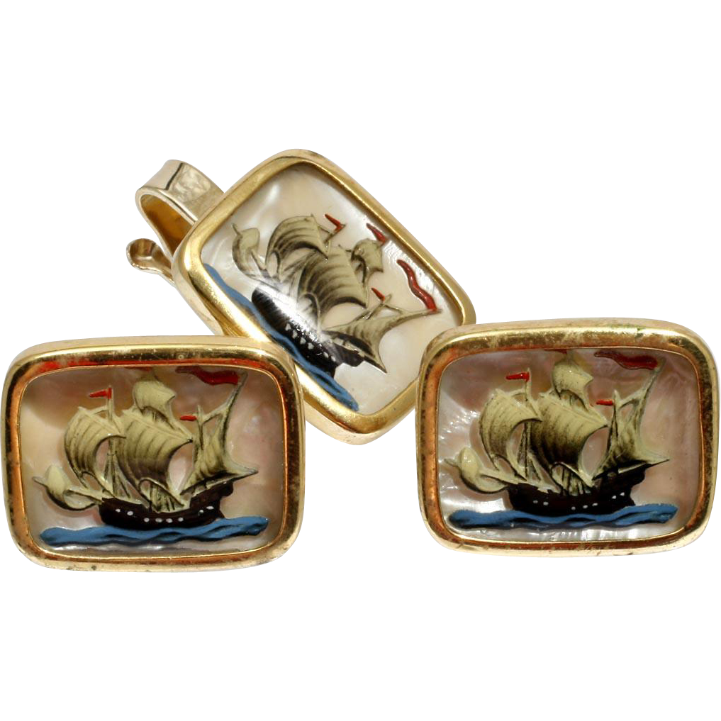 Essex Crystal Ships Cufflinks and Tie Clip Set Vintage Gentleman's Fashion