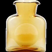 Blenko Amber Art Glass Water Bottle Vase 384 Hand Blown Jar Made in America