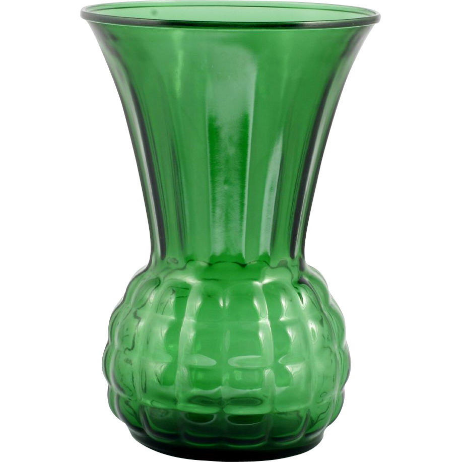 Forest Green Vintage Glass Vase Anchor Hocking 1960s Mid Century Modern Festive