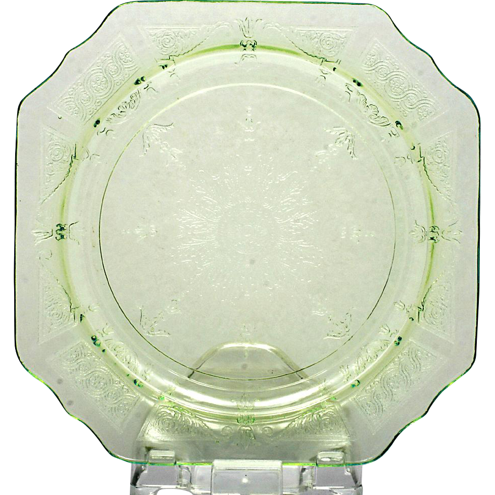 Anchor Hocking Princess Green Plate Depression Glass Square Vintage 1930s