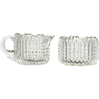 American Brilliant Cut Glass Creamer and Sugar Bowl Antique Ribbed Set Crystal