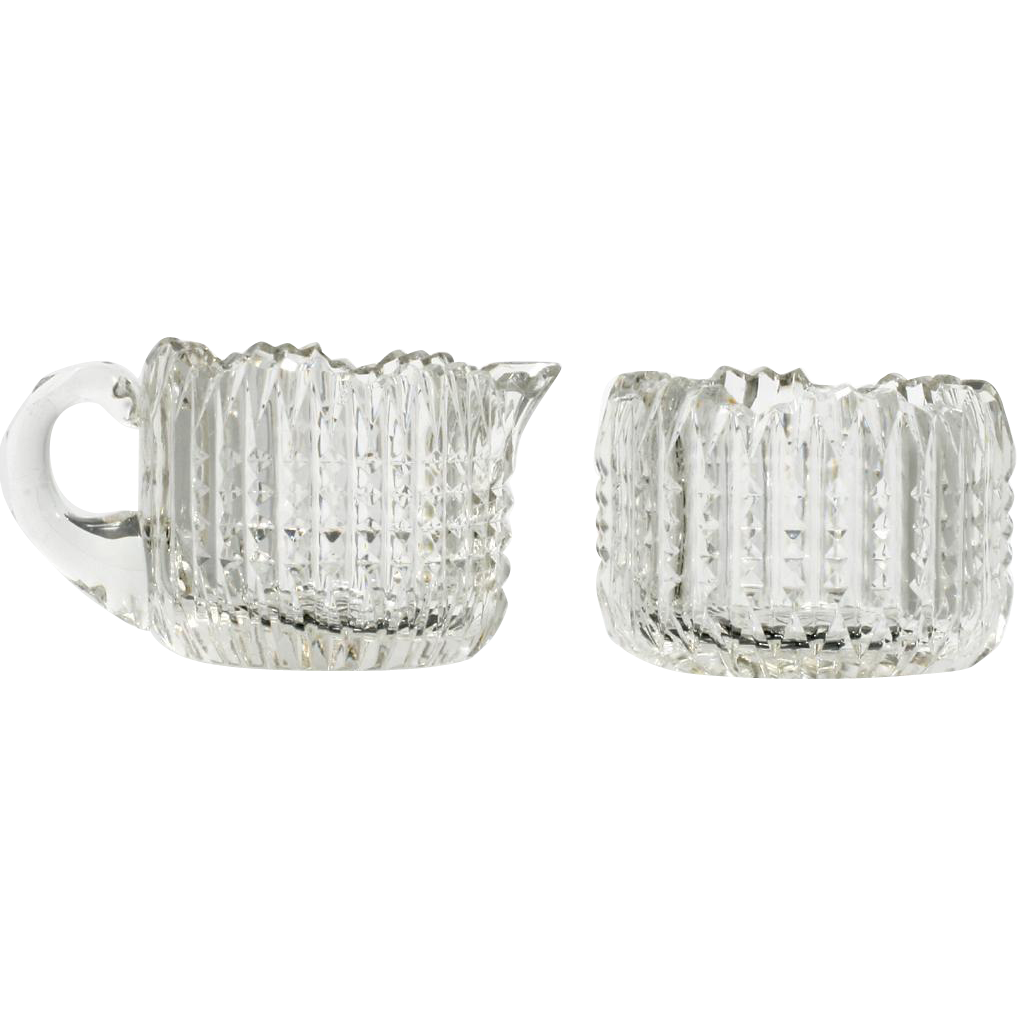 American Brilliant Cut Glass Creamer and Sugar Bowl Antique Ribbed Set Crystal