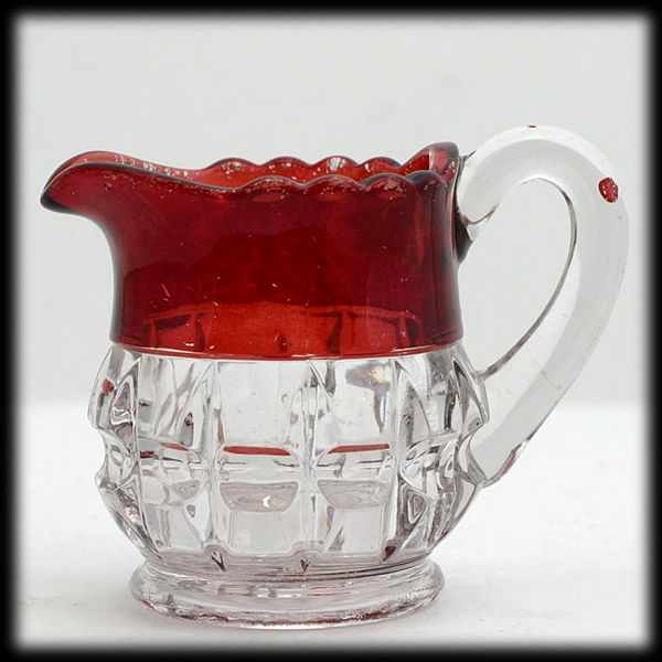 Ruby Stained Truncated Cube Pitcher EAPG Small Creamer Thompson Glass