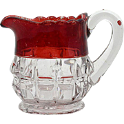 Ruby Stained Antique Glass Pitcher EAPG Truncated Cube Small Creamer Thompson Glass
