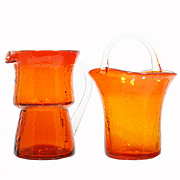 Pilgrim Flame Orange Crackle Glass Creamer Pitcher and Sugar Bowl Hand Blown Label