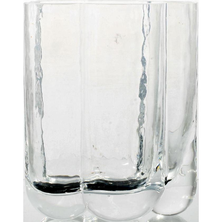 Seaglassbruk Scandinavian Art Glass Crystal Pauline Vase 1980s Signed