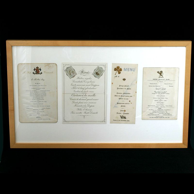 Antique Victorian Menus Set of 4 Framed French Themes