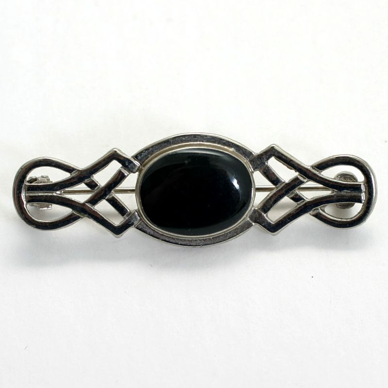 Celtic Style Bar Pin with Black Jet Center