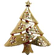 Vintage Goltone Christmas Tree Pin with Rhinestone Star Ornaments