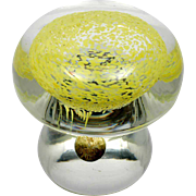 Swedish Art Glass Mushroom Paperweight Yellow & Clear Original Label