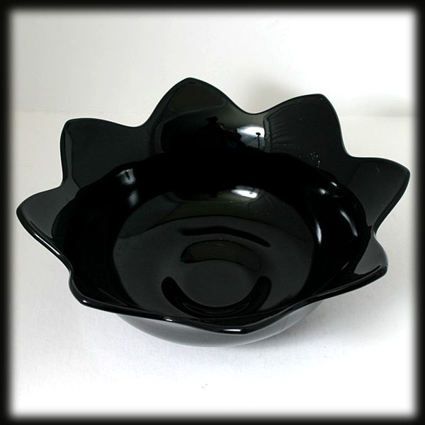 Fenton Ebony Black Petal Bowl Flower Console Bowl Vintage 1930s Art Glass