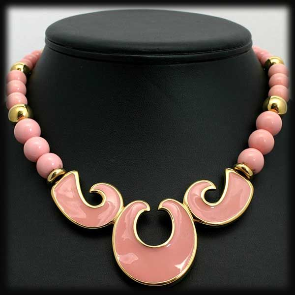 Modernist Pink and Goldtone Bead and Enamel Napier Necklace