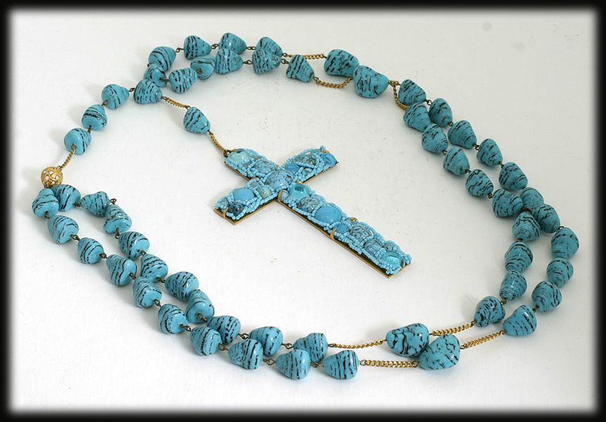 Unique Hand Made Rosary Turquoise Colored Art Glass Beads Vintage c. 1970.