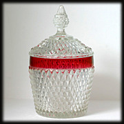 Indiana Diamond Point Ruby Stained Ice Bucket Vintage Barware Glass
