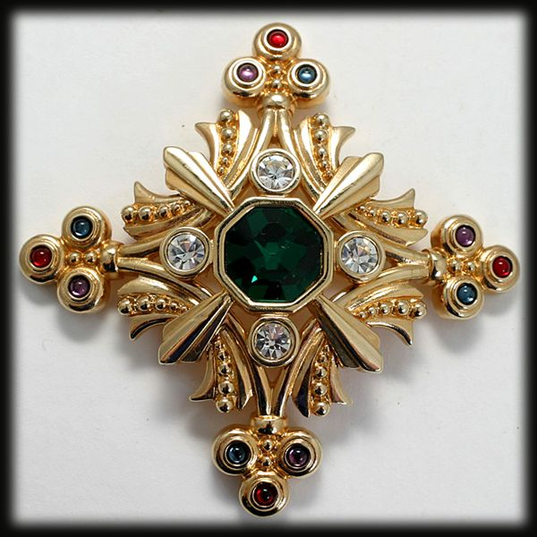 Swarovski Goldtone Cross Brooch Multicolored Rhinestones and Cabs