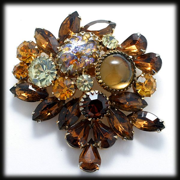 Vintage Regency Large Rhinestone Brooch with Faux Fire Opal