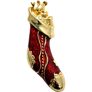 Enameled Christmas Stocking Brooch Ruby Red Vintage