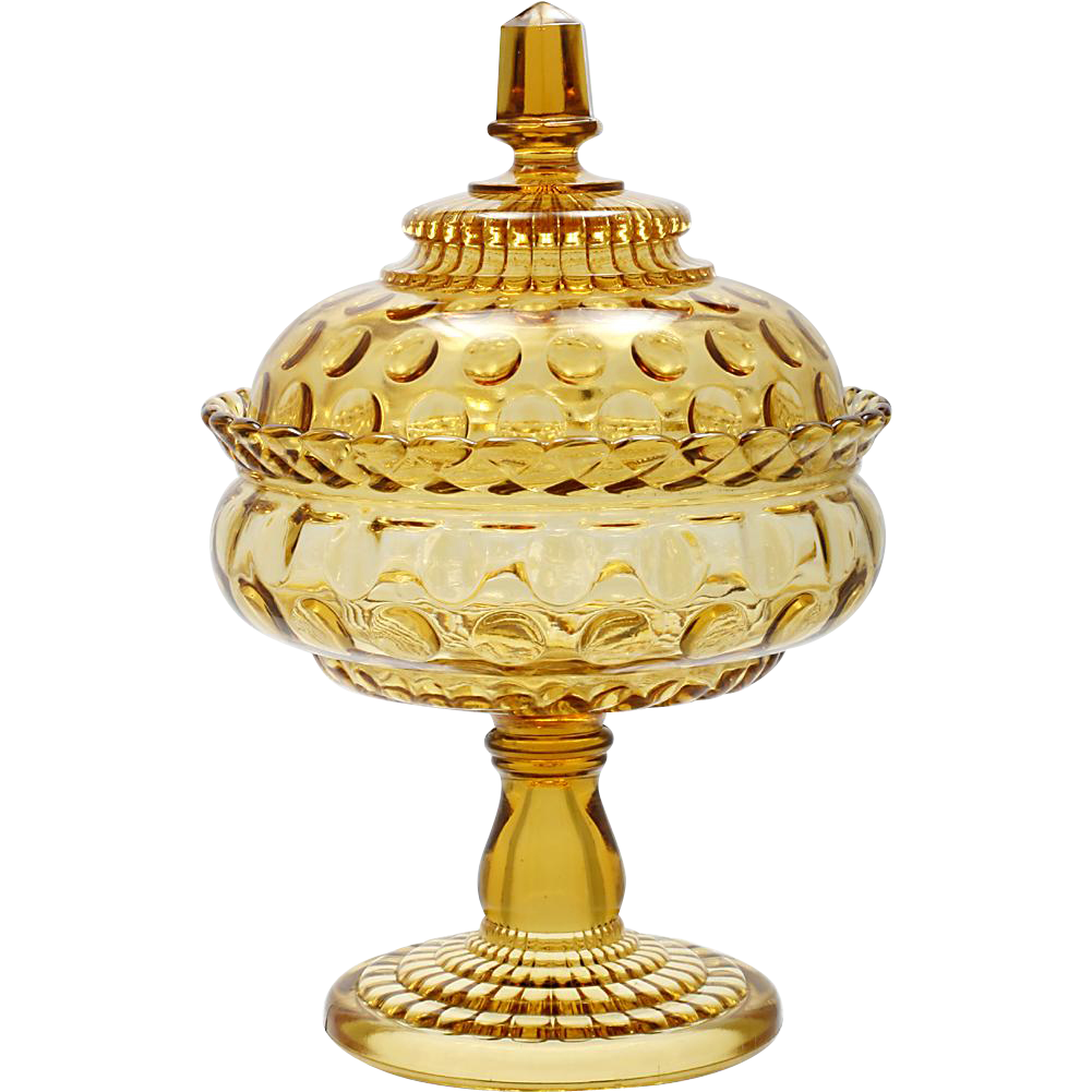 Central Glass Rope and Thumbprint Compote Amber Antique Glass EAPG 1880s