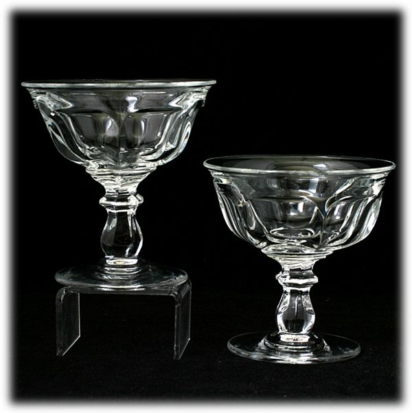 Heisey Colonial Elegant Glass Pair Tall Champagne Sherbet Glasses Vintage Crystal