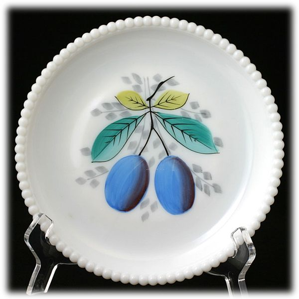 Westmoreland Milk Glass Beaded Edge Plate Blue Plum Hand Painted Vintage