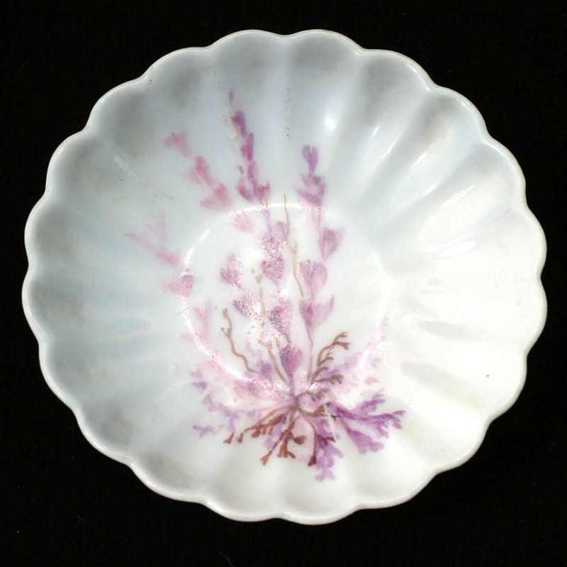 Haviland Antique Butter Pat Purple Flowers Scalloped French Porcelain