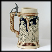 German Pottery Stein  Dancing Couple Musicians Blue Signed 1406