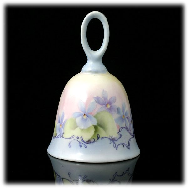Hand Painted Porcelain Bell Blue Yellow Flowers A Jean Original