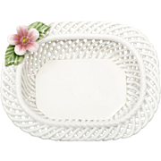 Levante Spain Porcelain Basket Weave Dish with Pink Flower Lattice