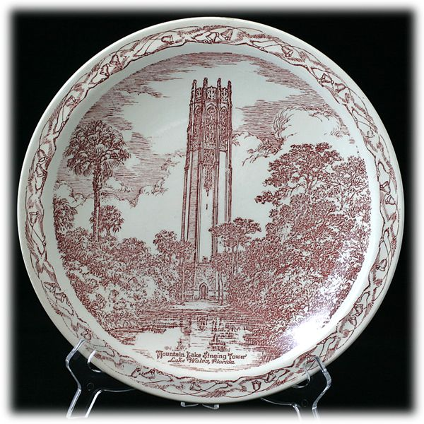 Vernon Kilns Mountain Lake Singing Tower  Souvenir Commemorative Plate Vintage Red